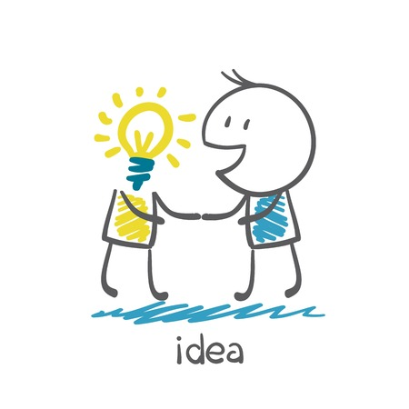 people shaking hands with the man with the head of an idea-bulb illustration