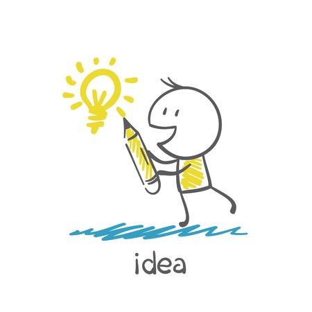 man draws a pencil idea-bulb illustration Иллюстрация