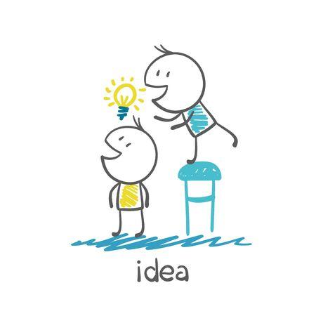 unsuccess: man steals another persons idea-bulb illustration