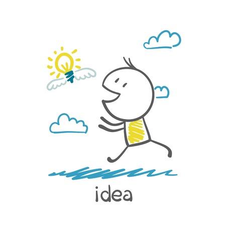 smart goals: man running behind the idea bulb illustration Illustration