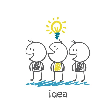 man with idea-bulb among other people without ideas illustration