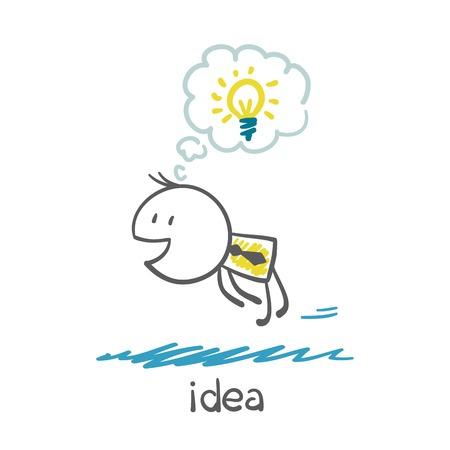 man with idea-bulb flies illustration Illustration