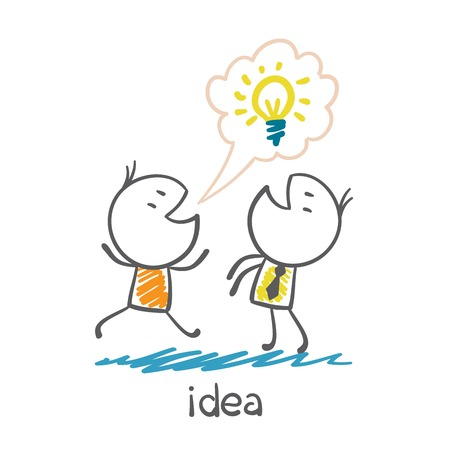 runs: man with idea-bulb runs to tell the other person illustration