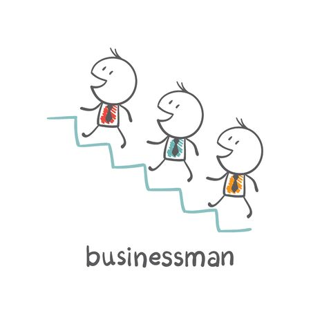 go up: businessmen go up the stairs illustration