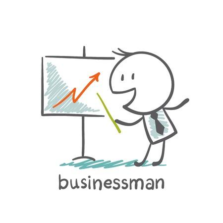 businessman pointer shows a graph illustration