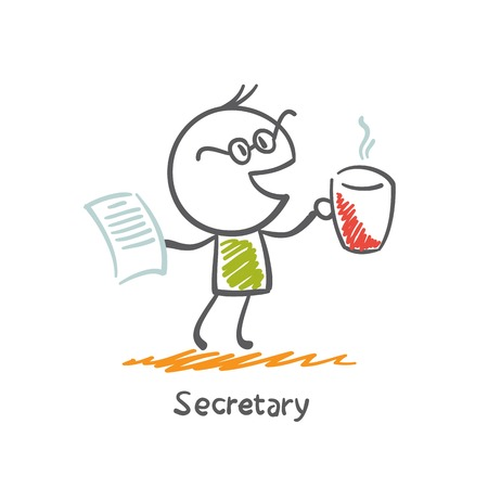 Secretary of drinking tea and holding a document in hand illustration