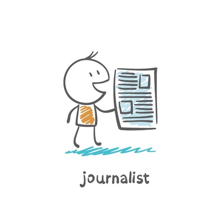 articles: a journalist with the newspaper illustration