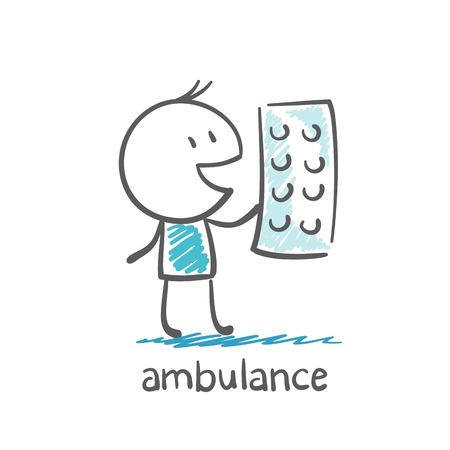 Ambulance offers pills illustration