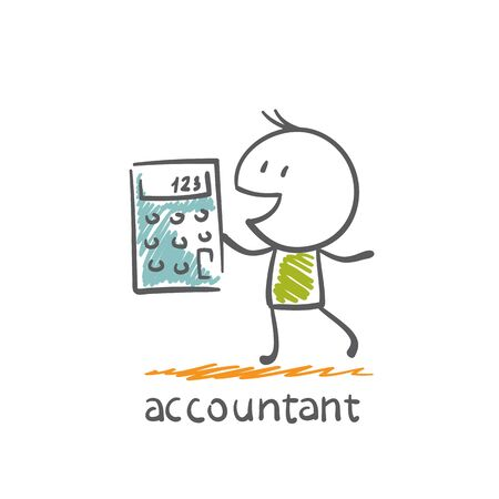 Accountant with a calculator illustration