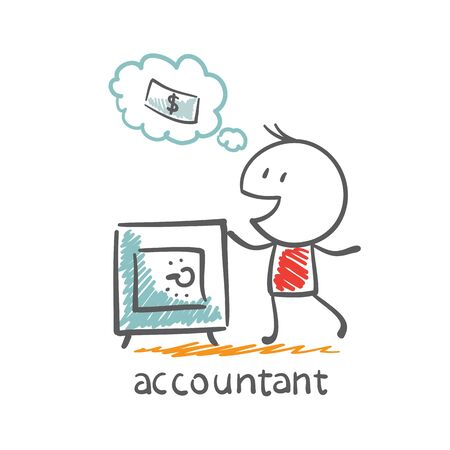Accountant with safe illustration
