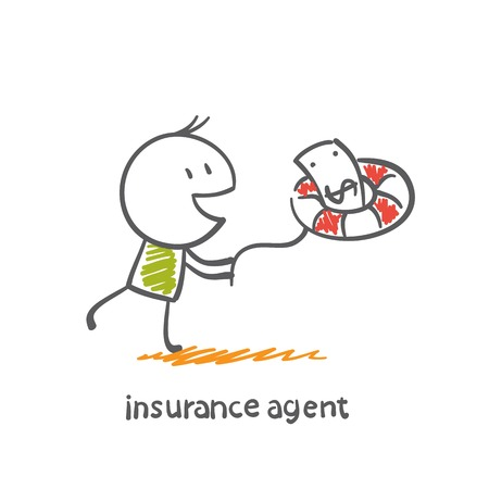 lifeline: Insurance Agent catches money lifeline illustration