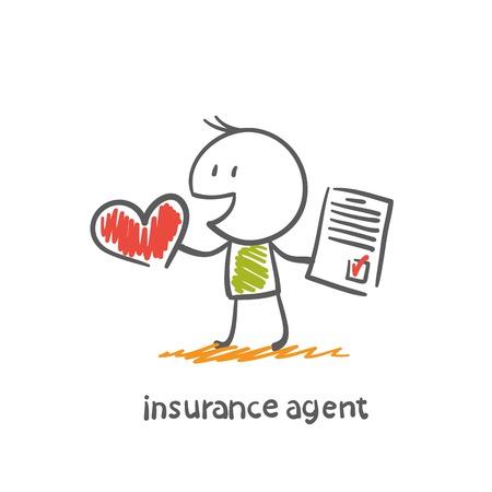verzekeringsagent biedt voor de gezondheid van illustratie verzekeren
