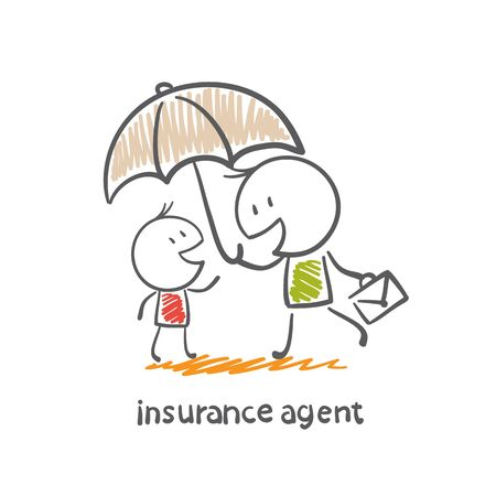insurance agent holding an umbrella over a man illustration