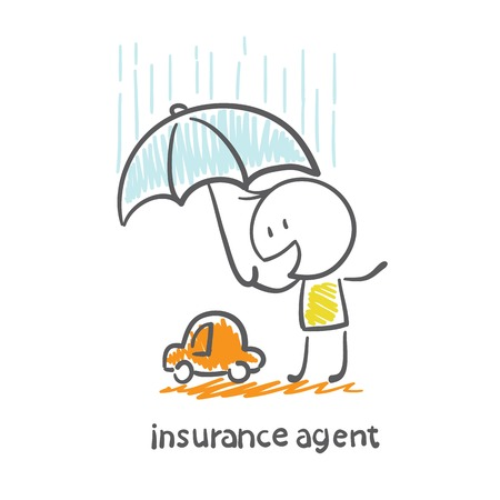 insurance agent holding an umbrella over the machine illustration
