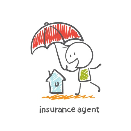 insurance agent holding an umbrella over the house of illustration
