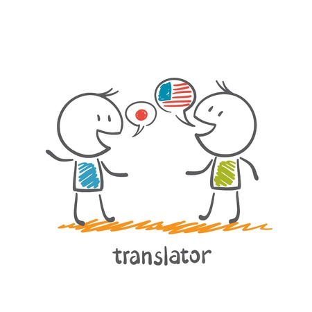 translator speaks with a foreigner illustration Stock Illustratie