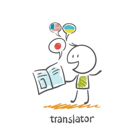 translator reads the book illustration