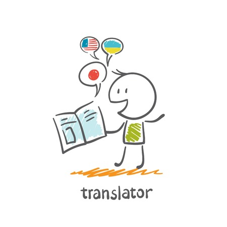 translator reads the book illustration