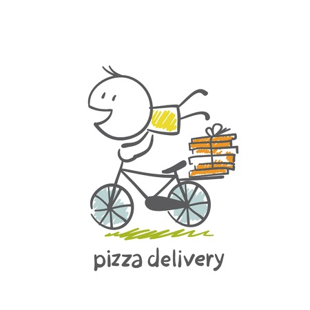 delivery man: pizza delivery on a bicycle illustration