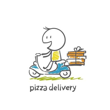 原付けのピザの配達の図
