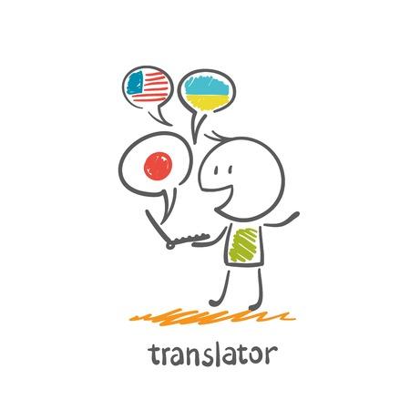 translator: translator works on a computer illustration