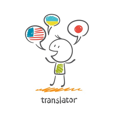bilingual: translator speaks different languages illustration