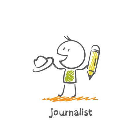 news reader: journalist hat and holding a pencil illustration