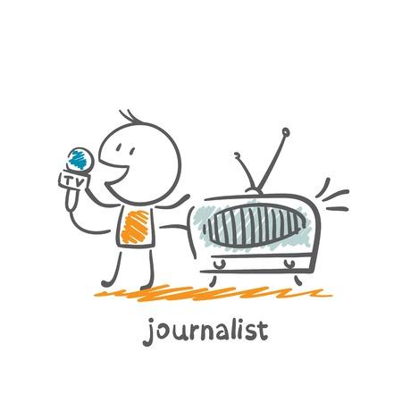 press conference: journalist said on the radio illustration