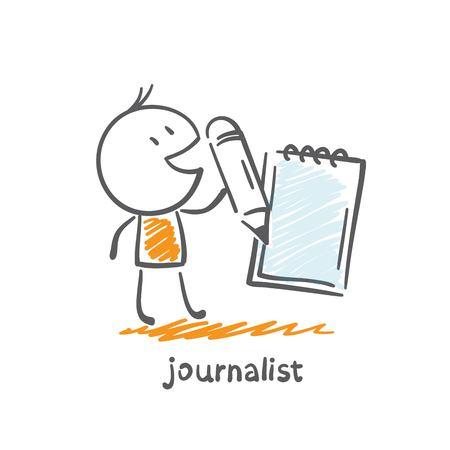 writes: journalist writes news notebook illustration Illustration