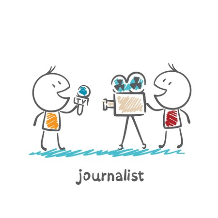 journalist speaks into the microphone on the camera illustration