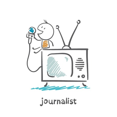 journalist speaks into the microphone on television illustration