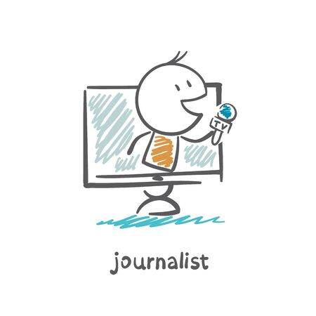 journalist speaks into the microphone to your computer through the Internet illustration