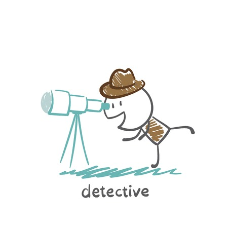 Detective looking through a telescope illustration