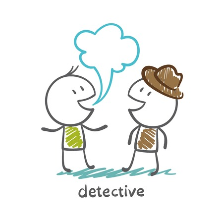 inspector: detective talking with a man illustration