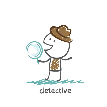 detective looking through a magnifying glass illustration