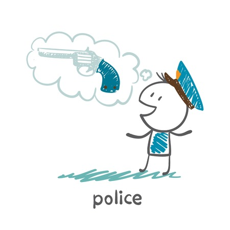 Police think about weapons illustration Illustration
