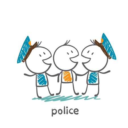 Police caught the thief illustration Иллюстрация