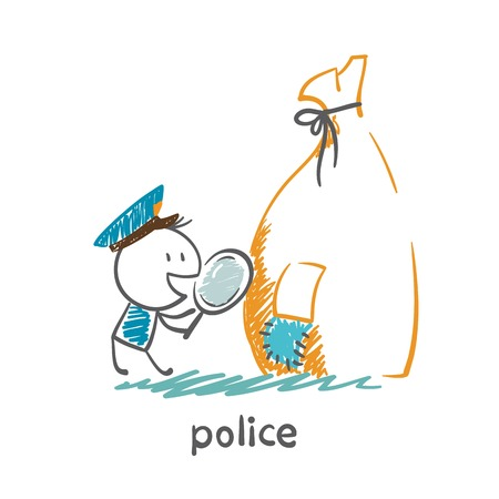 Police looking into a magnifying glass on a hole in the bag illustration