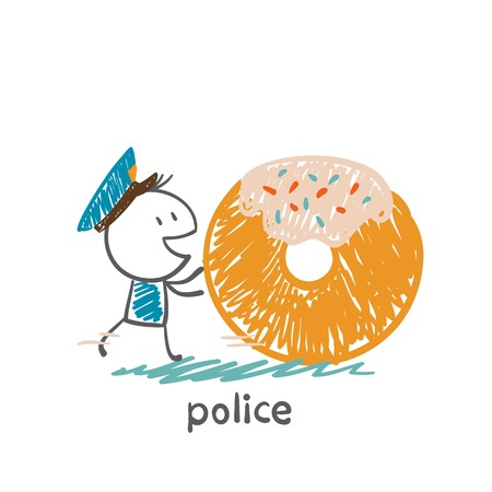 bribery: policeman with donut illustration