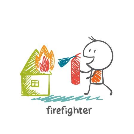 brandweer cartoon: brandweerman blussen van een brandblusser huis illustratie