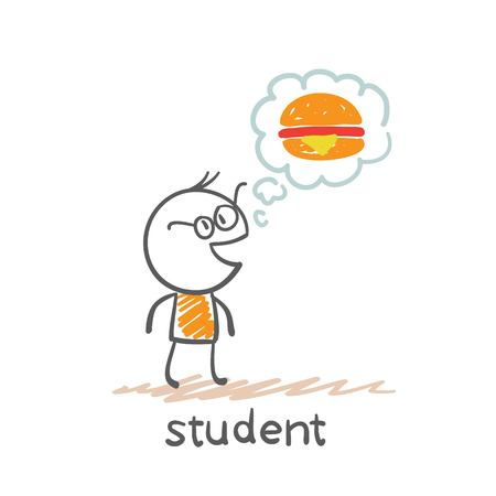 students to think about the hamburger illustration Ilustração
