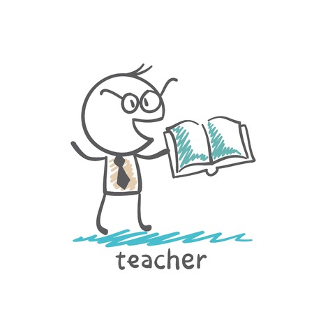 teacher with book illustration
