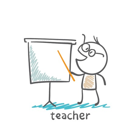 Teacher shows pointer on the board illustration