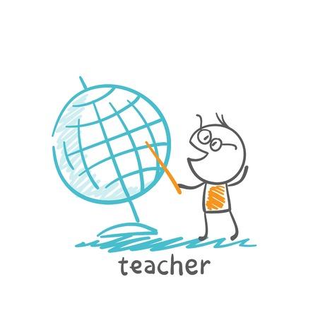 chock: teacher showing a globe of the world illustration Illustration