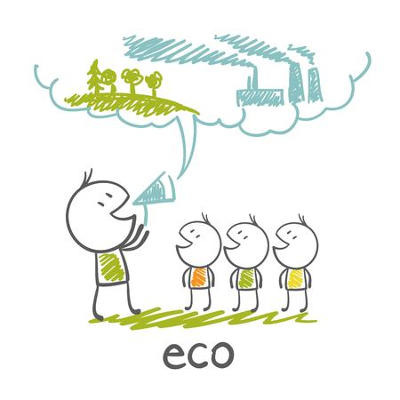 talks: man talks about ecology environment illustration