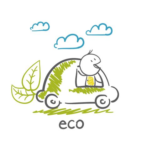 out of gas: man goes to the eco-car illustration Illustration
