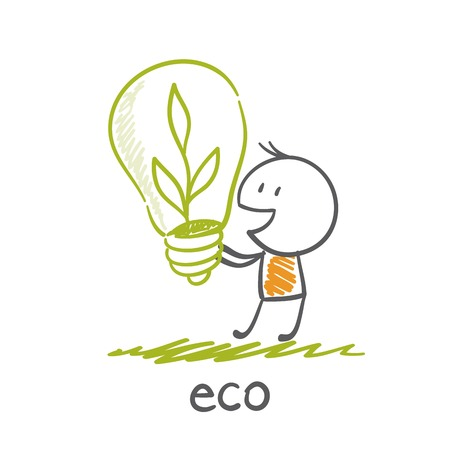 overuse: man holding eco-bulb illustration Illustration