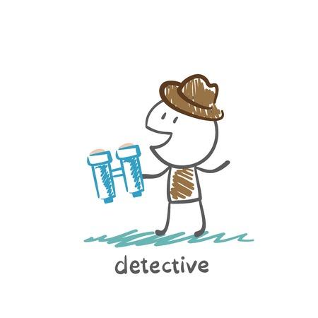 inspector: Detective with binoculars illustration