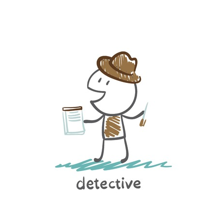 inspector: Detective writing in a notebook illustration