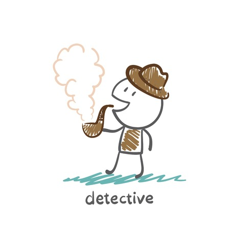 detective smoking a pipe illustration Vector
